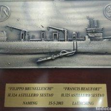 Antigüedades: PLACA BRONCE BOTADURA BARCO ASTILLERO SESTAO FILIPPO BRUNELLESCHI FRANCIS BEAUFORT BILBAO VASCO. Lote 217429768