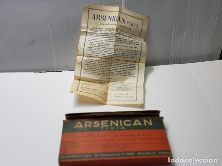 FARMACIA ANTIGUO MEDICAMENTO ARSENICAN LABORATORIOS TICIA AÑOS 30-40 (Antigüedades - Técnicas - Herramientas Profesionales - Medicina)