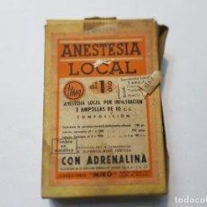 Antigüedades: FARMACIA ANTIGUO MEDICAMENTO ANESTESIA LOCAL LABORATORIOS MIRO AÑOS 30-40. Lote 217487497