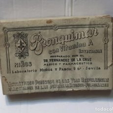 Antigüedades: FARMACIA ANTIGUO MEDICAMENTO BRONQUIMAR LABORATORIOS MUÑOZ Y PABON 30-40 SIN ABRIR. Lote 217509901