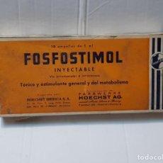 Antigüedades: FARMACIA ANTIGUO MEDICAMENTO FOSFOSTIMOL LABORATORIOS HOECHST 30-40 SIN ABRIR. Lote 217510192