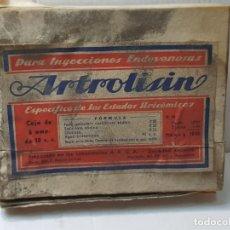 Antigüedades: FARMACIA ANTIGUO MEDICAMENTO ARTROLISIN LABORATORIOS A.R.G.A. 30-40 SIN ABRIR. Lote 217548508