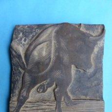 Antigüedades: TOROS, ANTIGUO TAMPÓN, SELLO DE IMPRENTA EN MADERA - FINALES DEL SIGLO XIX. Lote 217731645