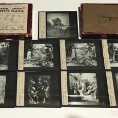 Antigüedades: 9 DIAPOSITIVAS EN CRISTAL PARA LINTERNA MÁGICA- NUEVO TESTAMENTO- PINTADAS A MANO. Lote 217757096