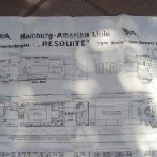 Antigüedades: GRAN PLANO BARCO CRUCERO CRUISE HAMBURG AMERIKA LINIE -RESOLUTE-. Lote 217766380