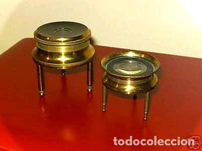 DOS LUPAS DE MESA ALEMANAS DE PRECISIÓN, HACIA 1890 (Antigüedades - Técnicas - Instrumentos Ópticos - Lupas Antiguas)