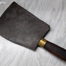 Antigüedades: ANTIGUA HACHA CUCHILLO DE CARNICERO - BLAS ORTI VALENCIA. Lote 217966738