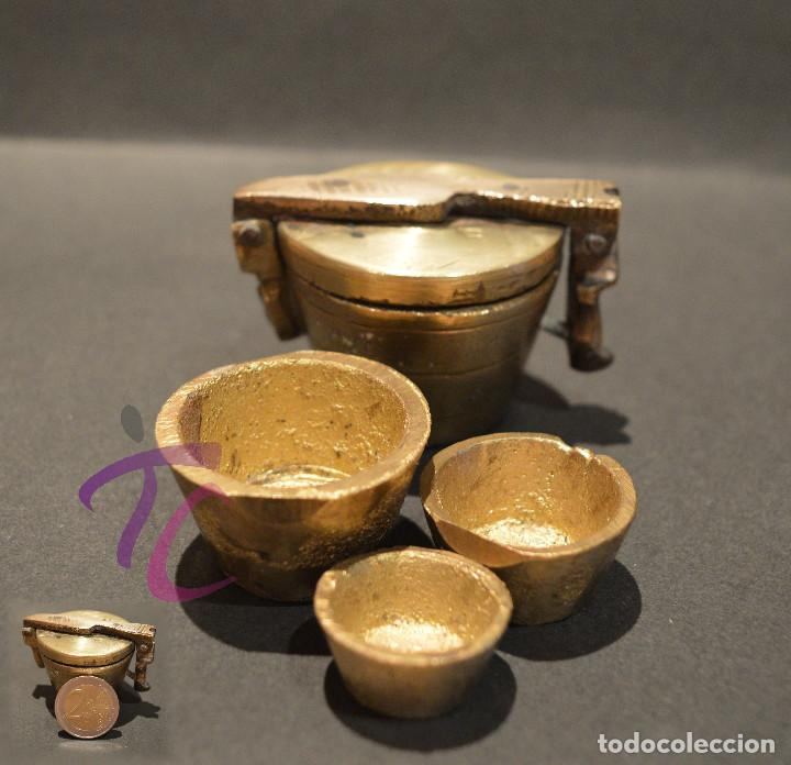 Antigüedades: PEQUEO PONDERAL DE VASOS ANIDADOS - Foto 14 - 218511922