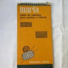 Antigüedades: TABLA DE CALCULO DE PUNTOS E HILERAS MARIA PARA MAQUINAS DE TRICOTAR. Lote 218673248