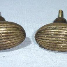 Antigüedades: 2 POMOS OVALADOS TIRADOR DE PUERTA EN BRONCE MACIZO.6 X 3.5 CM.. Lote 218751845