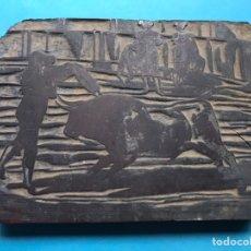 Antigüedades: TOROS, ANTIGUO TAMPÓN, SELLO DE IMPRENTA EN MADERA - FINALES DEL SIGLO XIX. Lote 218823516