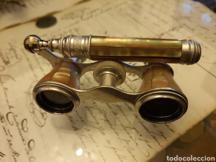 ANTIGUO IMPERTINENTE EN MADRE PERLA Y METAL PLATEADO(PLATA?). (Antigüedades - Técnicas - Instrumentos Ópticos - Prismáticos Antiguos)