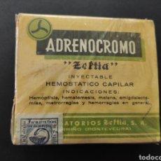 Oggetti Antichi: ADRENOCROMO MEDICAMENTO FARMACIA LABORATORIOS ZELTIA PORRIÑO PONTEVEDRA. Lote 218877245