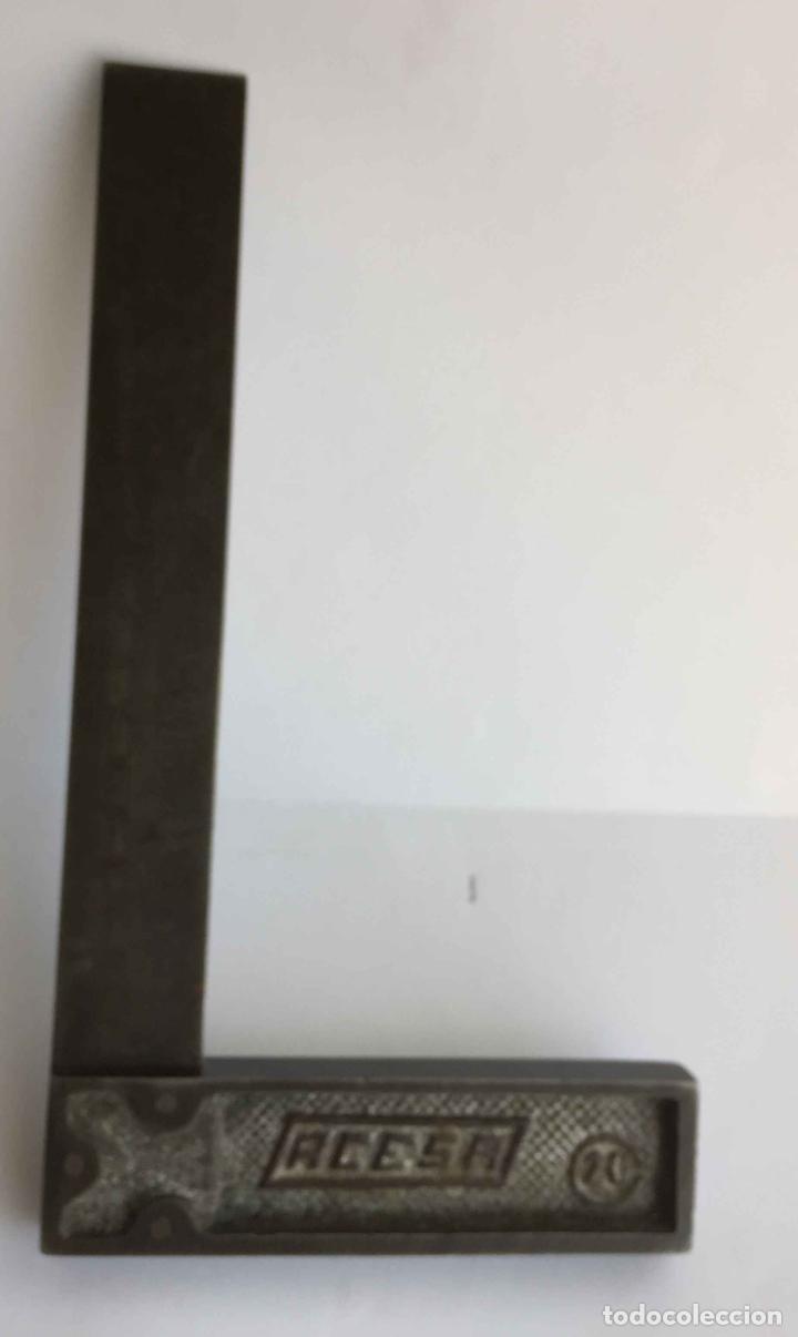 Antigüedades: Antigua ESCUADRA profesional ACESA (ángulo; 20 cms.) Metálica. 1960's. Original. Coleccionista - Foto 7 - 218887197