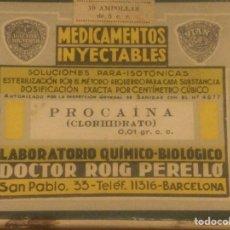 Antigüedades: CAJA MEDICAMENTOS INYECTABLDS PROCAINA MEDICO FARMACIA LABORATORIO DOCTOR ROIG PERELLO. Lote 218922670