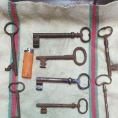Antigüedades: 9 LLAVES DE FORJA, ANTIGUAS, NO REPRODUCCIONES.. Lote 219336525