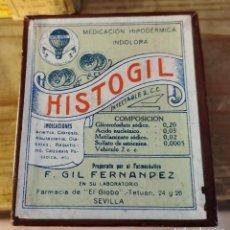Antigüedades: CAJA VACIA DE FARMACIA EL GLOBO, SEVILLA, HISTOGIL, PRECIOSA. Lote 219825008