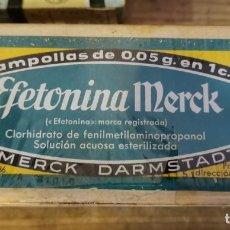 Antigüedades: CAJA PRECINTADA DE 10 AMPOLLAS DE EFETONINA MERCK, MUY ANTIGUA, IMPECABLE, MEDICINA. Lote 219825435