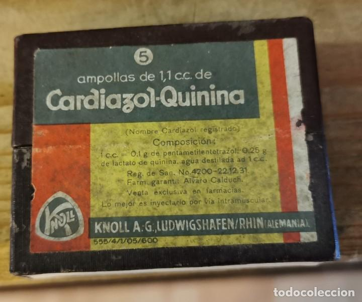 CAJA PRECINTADA DE 5 AMPOLLAS DE CARDIAZOL QUININA, MUY ANTIGUA, IMPECABLE, MEDICINA (Antigüedades - Técnicas - Herramientas Profesionales - Medicina)
