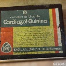 Antigüedades: CAJA PRECINTADA DE 5 AMPOLLAS DE CARDIAZOL QUININA, MUY ANTIGUA, IMPECABLE, MEDICINA. Lote 219825840