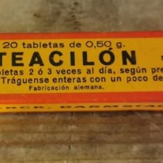 Antigüedades: CAJA DE 20 TABLETAS DE 0,50 G. DE TEACILON, MERCK, MUY ANTIGUA, IMPECABLE. Lote 219826155