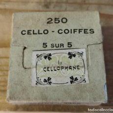 Antigüedades: ANTIGUA CAJA DE MATERIAL MEDICO, CELLO-COIFFES, LA CELLOPHANE, RARA, LLENA. Lote 220258056