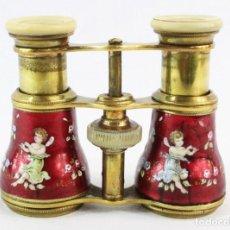 Antigüedades: BINOCULARES DE OPERA PINTADOS AL ESMALTE, ÁNGELES. CA 1880 - OPERA BINOCULARS, HAND PAINTED ENAMEL. Lote 220454505