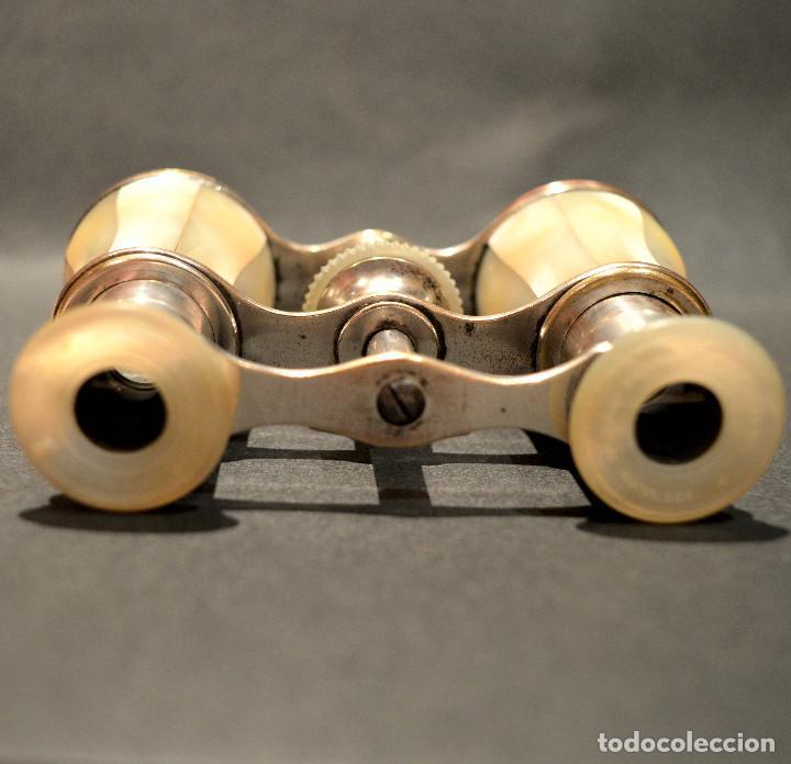 Antigüedades: ANTIGUOS BINOCULARES PRISMATICOS OPERA TEATRO EN NACAR - Foto 11 - 220479360