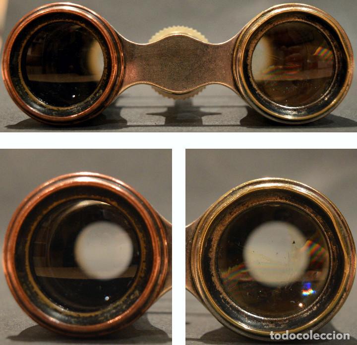 Antigüedades: ANTIGUOS BINOCULARES PRISMATICOS OPERA TEATRO EN NACAR - Foto 14 - 220479360