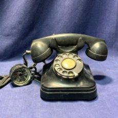 Téléphones: TELEFONO CTNE AURICULAR SIMPLE ESCUCHA DOBLE HABLAR PLASTICO NEGRO BAQUELITA DIAL RUEDA 16X19X24CM. Lote 220523106