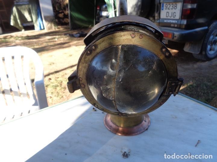 Antigüedades: Farol de mano de jefe estación de Renfe siglo XIX bronce único TC - Foto 5 - 220635250