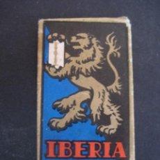 Antigüedades: IBERIA DE LUJO ACANALADA. ANTIGUA HOJA DE AFEITAR. CONTIENE LA HOJA. Lote 51089960