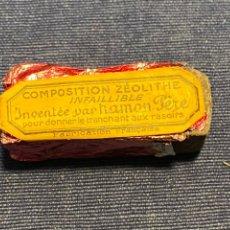Antigüedades: COMPOSITION ZÉOLITHE INFAILLIBLE INVENTEE HAMON PERE AFILADO BARBERIA CUCHILLA AFEITADO FRANCIA SXIX. Lote 220913536