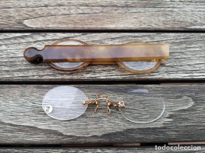 LOTE CON DOS ANTEOJOS ANTIGUOS INICIO SIGLO XX (Antigüedades - Técnicas - Instrumentos Ópticos - Gafas Antiguas)