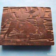 Antigüedades: TOROS, ANTIGUO TAMPÓN, SELLO DE IMPRENTA EN MADERA - FINALES DEL SIGLO XIX. Lote 221239998