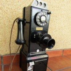 Teléfonos: ANTIGUA CABINA, TELÉFONO PÚBLICO DE MONEDAS, WESTERN ELECTRIC, PRIMER MODELO, AÑOS 20.. Lote 221337971
