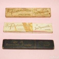 Antigüedades: ANTIGUAS CAJAS VACÍAS DE NAVAJAS DE AFEITAR FILARMÓNICA E HIJOS DE GUMERSINDO BLANCHAR. Lote 221475247