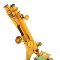 Antigüedades: MICROSCOPIO BINOCULAR ANTIGUO (C.1870). Lote 221506378