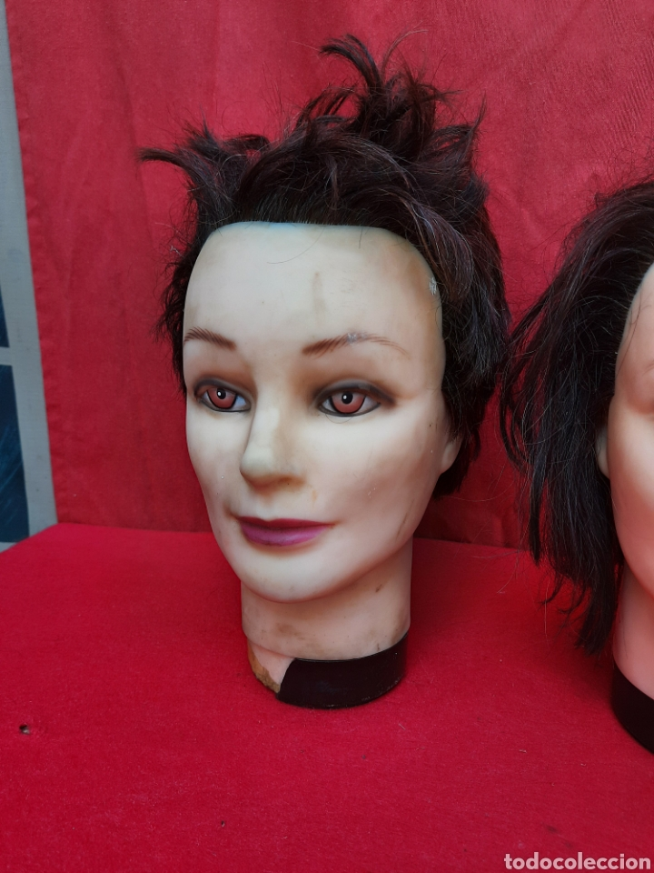 Antigüedades: Viejas cabezas maniquí con pelo natural para practicar peluquería - Foto 2 - 221617447
