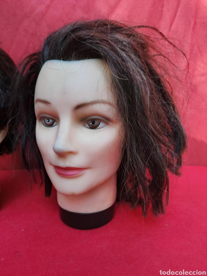Antigüedades: Viejas cabezas maniquí con pelo natural para practicar peluquería - Foto 3 - 221617447