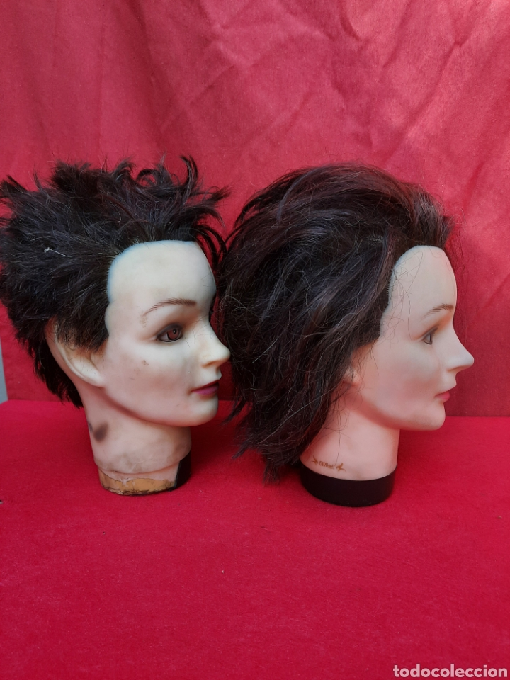 Antigüedades: Viejas cabezas maniquí con pelo natural para practicar peluquería - Foto 4 - 221617447