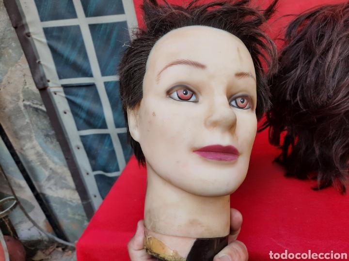 Antigüedades: Viejas cabezas maniquí con pelo natural para practicar peluquería - Foto 10 - 221617447