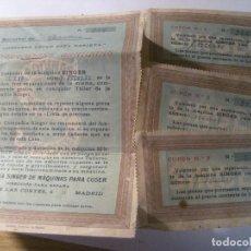 Antigüedades: ANTIGUOS CUPONES CUPON SINGER PARA REPARACION GRATUITA MAQUINA DE COSER. Lote 221680355