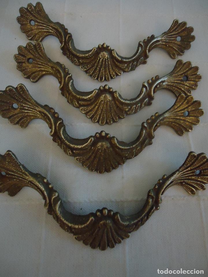 4 TIRADORES ANTIGUOS ESTILO FRANCÉS DE BRONCE. LARGO 10,5 CMS. (Antigüedades - Técnicas - Cerrajería y Forja - Tiradores Antiguos)