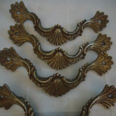 Antigüedades: 4 TIRADORES ANTIGUOS ESTILO FRANCÉS DE BRONCE. LARGO 10,5 CMS.. Lote 221698296