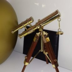 Antigüedades: ESPECTACULAR TELESCOPIO FRANCÉS BRONCE Y MADERA FUNCIONA. Lote 221787610