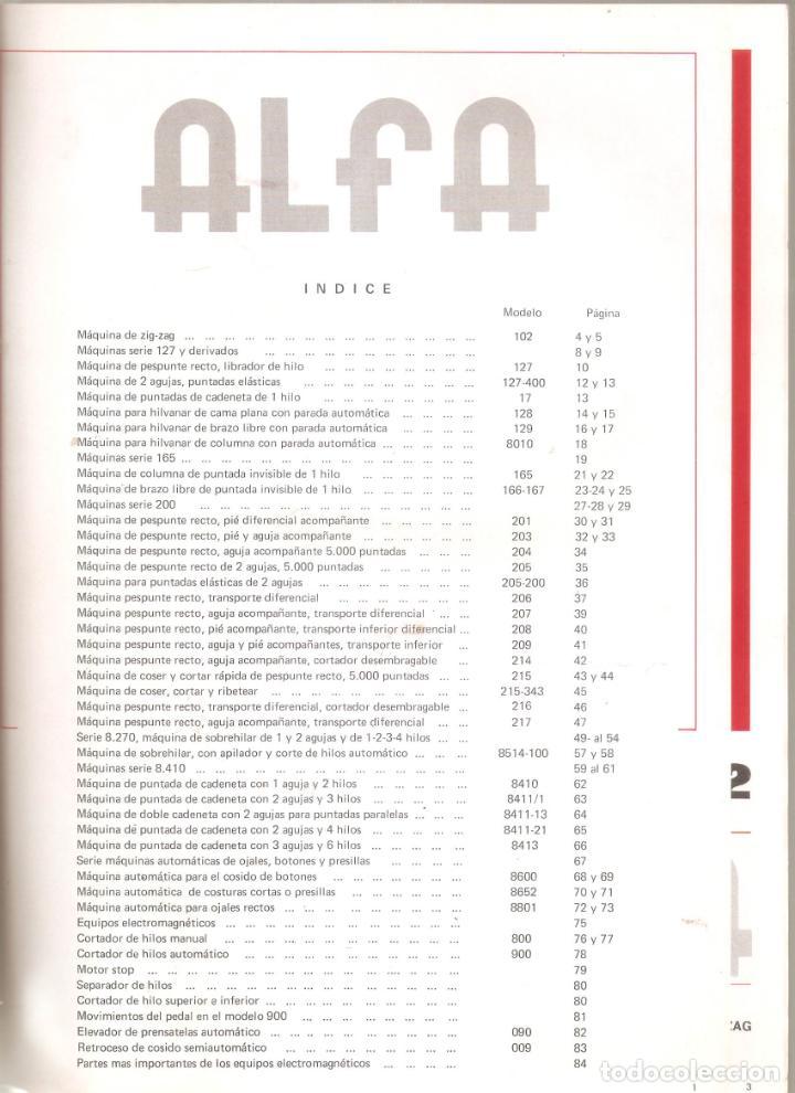 Antigüedades: ALFA- catalogo de maquinas de coser.mas de 30 modelos. 20x 30cms. . Vell i Bell. - Foto 2 - 221811351