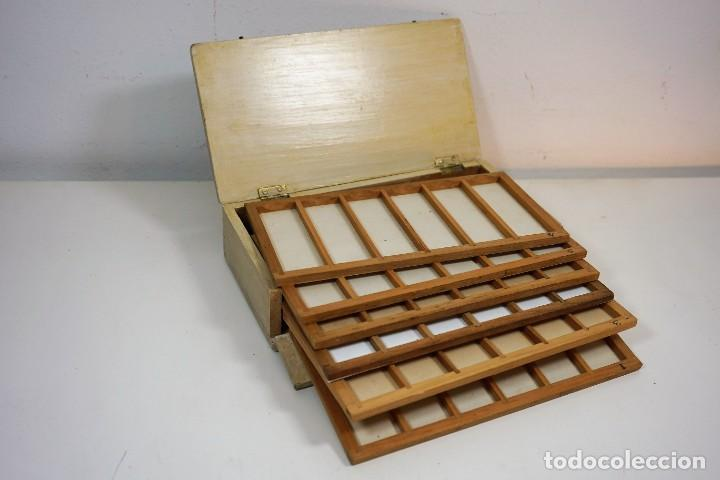 ANTIGUA CAJA PARA PREPARACIONES MICROSCOPICAS C.1900 (Antigüedades - Técnicas - Instrumentos Ópticos - Microscopios Antiguos)