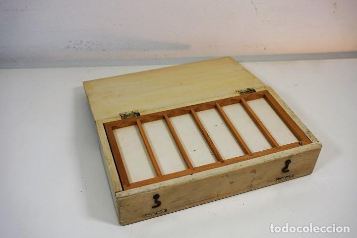 Antigüedades: ANTIGUA CAJA PARA PREPARACIONES MICROSCOPICAS c.1900 - Foto 3 - 221940100