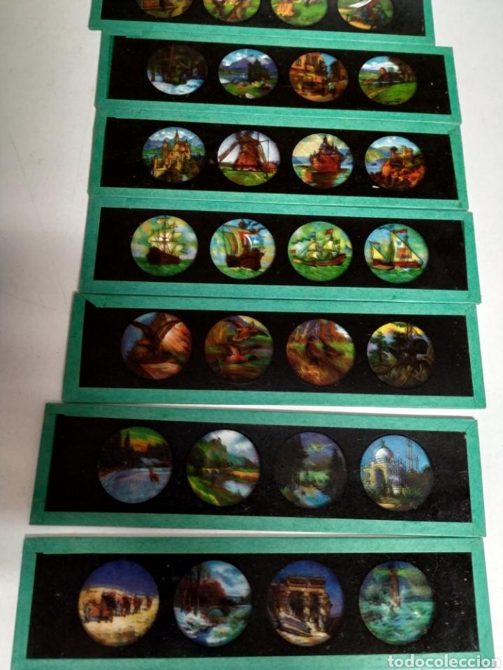 Antigüedades: Caja con 12 cristales linterna mágica - Foto 3 - 222158246